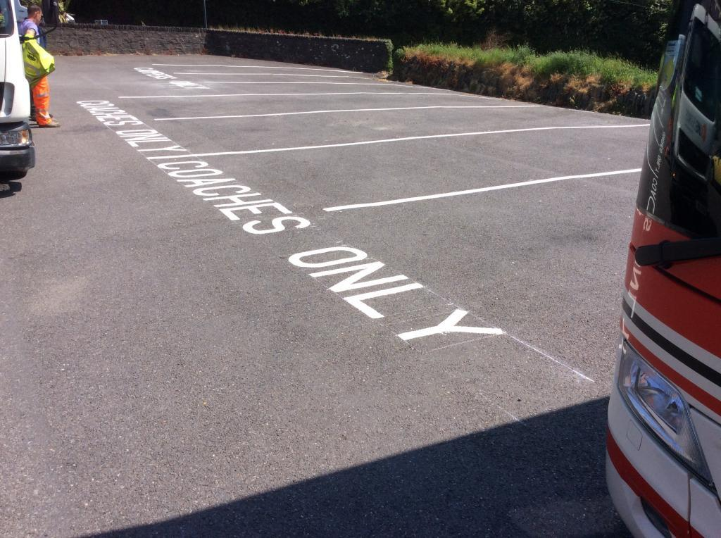 Car park Line marking in Lynton and Lynmouth, North Devon  Photo